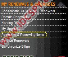 Godaddy renewing items